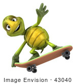 #43040 Royalty-Free (Rf) Cartoon Clipart Of A 3d Turtle Mascot Skateboarding - Version 4