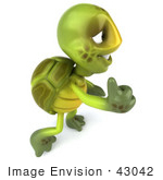 #43042 Royalty-Free (Rf) Cartoon Clipart Of A 3d Turtle Mascot Facing Right And Giving The Thumbs Up