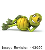 #43050 Royalty-Free (Rf) Cartoon Clipart Of A 3d Turtle Mascot Resting On His Side And Smiling
