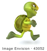 #43052 Royalty-Free (Rf) Cartoon Clipart Of A 3d Turtle Mascot Running Right