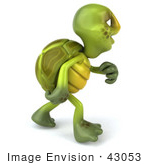#43053 Royalty-Free (RF) Cartoon Clipart of a 3d Turtle Mascot Walking and Looking Away - Version 1 by Julos