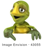#43055 Royalty-Free (Rf) Cartoon Clipart Of A 3d Turtle Mascot Smiling And Pointing Down At A Blank Sign