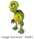 #43057 Royalty-Free (Rf) Cartoon Clipart Of A 3d Turtle Mascot Standing And Looking Left