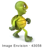 #43058 Royalty-Free (Rf) Cartoon Clipart Of A 3d Turtle Mascot Walking And Looking Away - Version 1