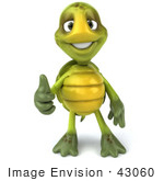 #43060 Royalty-Free (Rf) Cartoon Clipart Of A 3d Turtle Mascot Facing Front And Giving The Thumbs Up