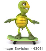 #43061 Royalty-Free (Rf) Cartoon Clipart Of A 3d Turtle Mascot Skateboarding - Version 1