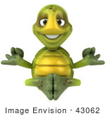 #43062 Royalty-Free (Rf) Cartoon Clipart Of A Zen 3d Turtle Mascot Meditating - Version 1