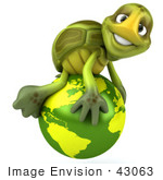 #43063 Royalty-Free (Rf) Cartoon Clipart Of A 3d Turtle Mascot Atop A Green Globe