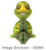 #43064 Royalty-Free (Rf) Cartoon Clipart Of A Zen 3d Turtle Mascot Meditating - Version 3