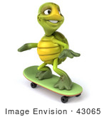#43065 Royalty-Free (Rf) Cartoon Clipart Of A 3d Turtle Mascot Skateboarding - Version 2