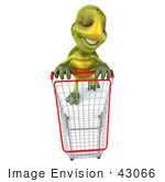 #43066 Royalty-Free (Rf) Cartoon Clipart Of A 3d Turtle Mascot In A Store With A Shopping Cart