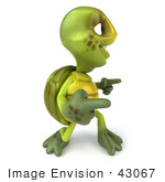 #43067 Royalty-Free (Rf) Cartoon Clipart Of A 3d Turtle Mascot Doing A Happy Dance - Version 4