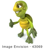 #43069 Royalty-Free (Rf) Cartoon Clipart Of A 3d Turtle Mascot Facing Left And Giving The Thumbs Up