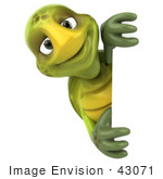 #43071 Royalty-Free (Rf) Cartoon Clipart Of A 3d Turtle Mascot Smiling And Looking Around A Blank Sign