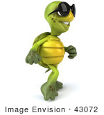 #43072 Royalty-Free (Rf) Cartoon Clipart Of A 3d Turtle Mascot Wearing Dark Sunglasses And Walking
