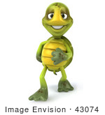#43074 Royalty-Free (Rf) Cartoon Clipart Of A Bashful 3d Turtle Mascot Touching His Belly And Smiling
