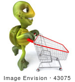 #43075 Royalty-Free (Rf) Cartoon Clipart Of A 3d Turtle Mascot Pushing A Shopping Cart