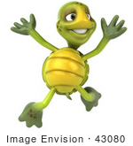 #43080 Royalty-Free (Rf) Cartoon Clipart Of A 3d Turtle Mascot Leaping Into The Air