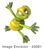 #43081 Royalty-Free (Rf) Cartoon Clipart Of A 3d Turtle Mascot Doing A Happy Dance - Version 3