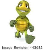 #43082 Royalty-Free (RF) Cartoon Clipart of a 3d Turtle Mascot Running Forward by Julos