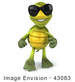 #43083 Royalty-Free (Rf) Cartoon Clipart Of A Friendly 3d Turtle Mascot Wearing Dark Shades And Standing