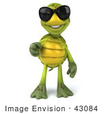 #43084 Royalty-Free (Rf) Cartoon Clipart Of A 3d Turtle Mascot Wearing Dark Shades And Pointing Outwards