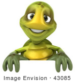 #43085 Royalty-Free (Rf) Cartoon Clipart Of A 3d Turtle Mascot Smiling And Standing Behind A Blank Sign