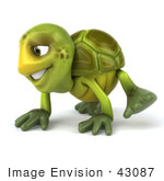 #43087 Royalty-Free (Rf) Cartoon Clipart Of A 3d Turtle Mascot Slowly Walking On All Fours - Version 1