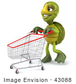 #43088 Royalty-Free (Rf) Cartoon Clipart Of A 3d Turtle Mascot Walking Through A Store With A Shopping Cart