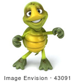 #43091 Royalty-Free (Rf) Cartoon Clipart Of A 3d Turtle Mascot Doing A Happy Dance - Version 2