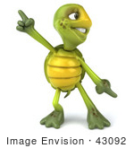 #43092 Royalty-Free (Rf) Cartoon Clipart Of A 3d Turtle Mascot Doing A Happy Dance - Version 1