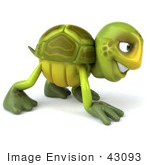 #43093 Royalty-Free (Rf) Cartoon Clipart Of A 3d Turtle Mascot Slowly Walking On All Fours - Version 3