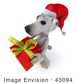 #43094 Royalty-Free (Rf) Clipart Illustration Of A 3d Jack Russell Terrier Dog Mascot Carrying A Christmas Gift - Pose 1