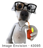 #43095 Royalty-Free (Rf) Clipart Illustration Of A 3d Jack Russell Terrier Dog Mascot Wearing Glasses And Sipping A Beverage - Pose 1