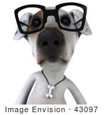 #43097 Royalty-Free (RF) Clipart Illustration of a 3d Jack Russell Terrier Dog Mascot Wearing Glasses - Pose 1 by Julos