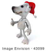 #43099 Royalty-Free (Rf) Clipart Illustration Of A 3d Jack Russell Terrier Dog Mascot Wearing A Santa Hat And Giving The Thumbs Up - Pose 2