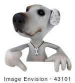 #43101 Royalty-Free (Rf) Clipart Illustration Of A 3d Jack Russell Terrier Dog Mascot Pointing Down At And Standing Behind A Sign