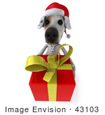 #43103 Royalty-Free (Rf) Clipart Illustration Of A 3d Jack Russell Terrier Dog Mascot Carrying A Christmas Gift - Pose 2