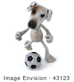 #43123 Royalty-Free (RF) Clipart Illustration of a 3d Jack Russell Terrier Dog Mascot Playing Soccer - Pose 3 by Julos