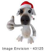 #43125 Royalty-Free (Rf) Clipart Illustration Of A 3d Jack Russell Terrier Dog Mascot Wearing A Santa Hat And Giving The Thumbs Up - Pose 3