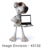 #43132 Royalty-Free (Rf) Clipart Illustration Of A 3d Jack Russell Terrier Dog Mascot With A Laptop - Pose 5