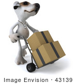 #43139 Royalty-Free (Rf) Clipart Illustration Of A 3d Jack Russell Terrier Dog Mascot Moving Boxes On A Dolly - Pose 2