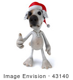#43140 Royalty-Free (Rf) Clipart Illustration Of A 3d Jack Russell Terrier Dog Mascot Wearing A Santa Hat And Giving The Thumbs Up - Pose 1