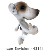 #43141 Royalty-Free (RF) Clipart Illustration of a 3d Jack Russell Terrier Dog Mascot Giving The Thumbs Up - Pose 4 by Julos