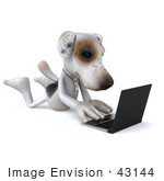 #43144 Royalty-Free (Rf) Clipart Illustration Of A 3d Jack Russell Terrier Dog Mascot With A Laptop - Pose 3