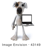 #43149 Royalty-Free (Rf) Clipart Illustration Of A 3d Jack Russell Terrier Dog Mascot With A Laptop - Pose 4
