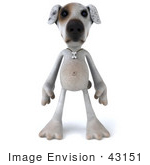 #43151 Royalty-Free (Rf) Clipart Illustration Of A 3d Jack Russell Terrier Dog Mascot Standing And Facing Front