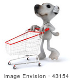 #43154 Royalty-Free (Rf) Clipart Illustration Of A 3d Jack Russell Terrier Dog Mascot Pushing A Shopping Cart - Pose 2