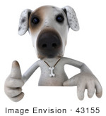 #43155 Royalty-Free (Rf) Clipart Illustration Of A 3d Jack Russell Terrier Dog Mascot Giving The Thumbs Up And Standing Behind A Sign