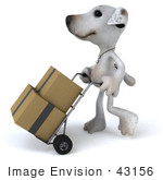 #43156 Royalty-Free (Rf) Clipart Illustration Of A 3d Jack Russell Terrier Dog Mascot Moving Boxes On A Dolly - Pose 1